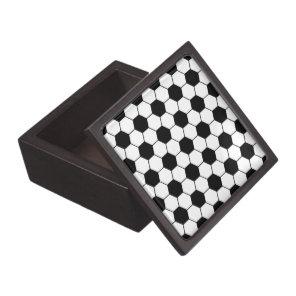Adapted Soccer Ball pattern Black White Keepsake Box