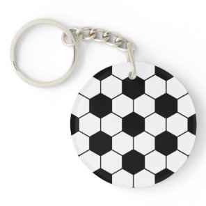 Adapted Soccer Ball pattern Black White Keychain