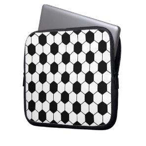 Adapted Soccer Ball pattern Black White Laptop Sleeve