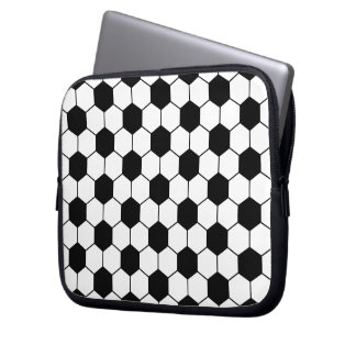 Adapted Soccer Ball pattern Black White Laptop Sleeve
