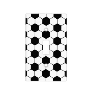Adapted Soccer Ball pattern Black White Light Switch Cover