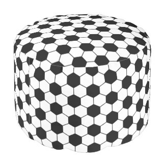 Adapted Soccer Ball pattern Black White Round Pouf