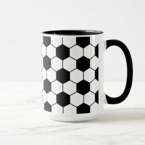 Adapted Soccer Ball pattern Black White Mug