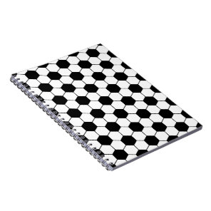 Adapted Soccer Ball pattern Black White Notebook