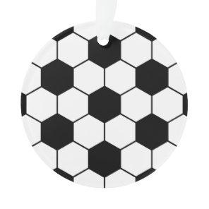 Adapted Soccer Ball pattern Black White Ornament