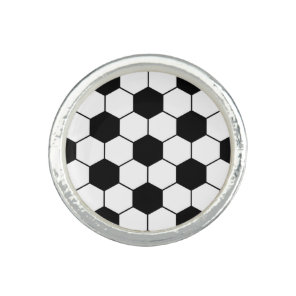 Adapted Soccer Ball pattern Black White Photo Rings