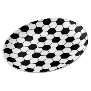 Adapted Soccer Ball pattern Black White Plate