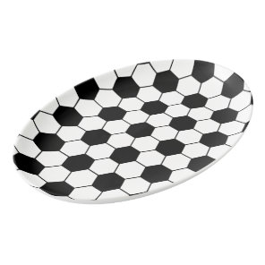 Adapted Soccer Ball pattern Black White Porcelain Serving Platter