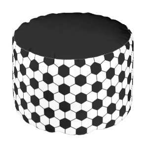 Adapted Soccer Ball pattern Black White Pouf