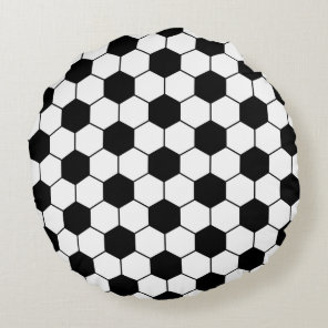 Adapted Soccer Ball pattern Black White Round Pillow