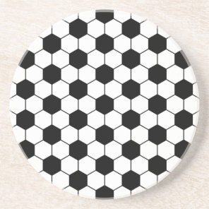 Adapted Soccer Ball pattern Black White Sandstone Coaster