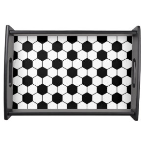 Adapted Soccer Ball pattern Black White Serving Tray