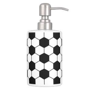 Adapted Soccer Ball pattern Black White Soap Dispenser And Toothbrush Holder