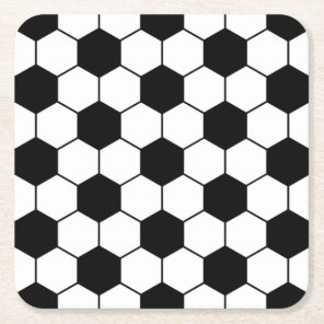 Adapted Soccer Ball pattern Black White Square Paper Coaster