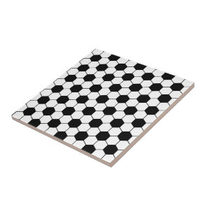 Adapted Soccer Ball pattern Black White Tile