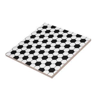 Adapted Soccer Ball pattern Black White Tile