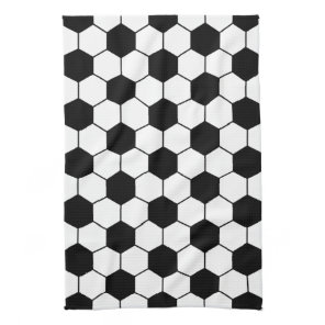 Adapted Soccer Ball pattern Black White Towel