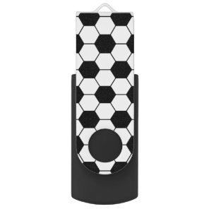 Adapted Soccer Ball pattern Black White USB Flash Drive