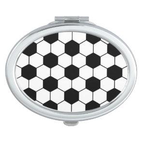 Adapted Soccer Ball pattern Black White Vanity Mirror