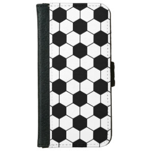 Adapted Soccer Ball pattern Black White Wallet Phone Case For iPhone 6/6s