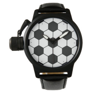 Adapted Soccer Ball pattern Black White Wristwatch
