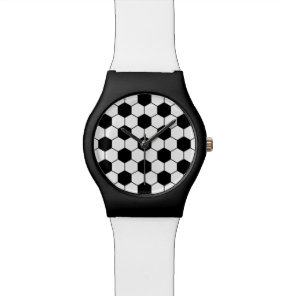 Adapted Soccer Ball pattern Black White Wristwatches