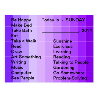 Adaptive Living Tools Daily List To Do Card Sunday