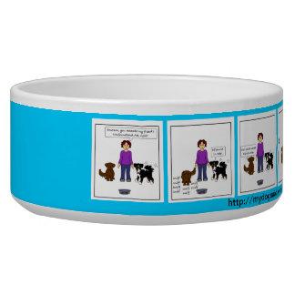 Ada's New Pool cartoon dog dish - blue