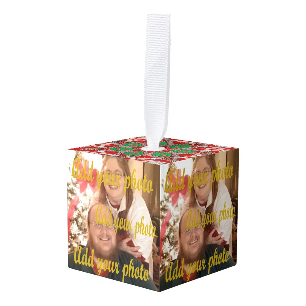 add 5 different photos block ornament Christmas