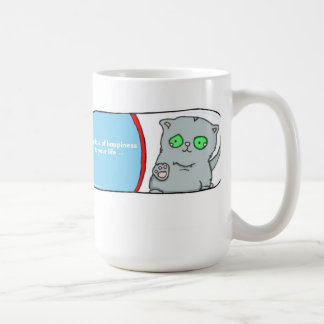 Add a dose of hapiness, shelter cat adoption classic white coffee mug