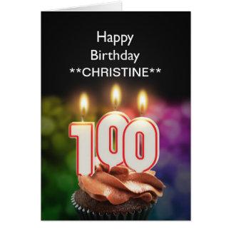 Add a name, 100th birthday card