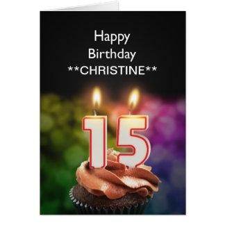 Add a name, 15th birthday card