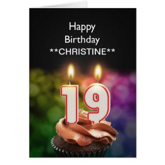 Add a name, 19th birthday card