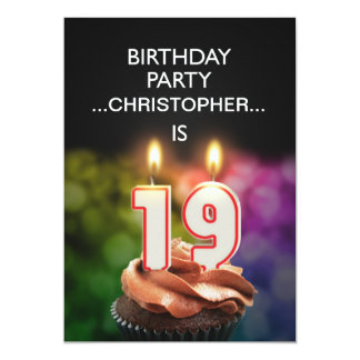 Add a name, 19th Birthday party Invitation