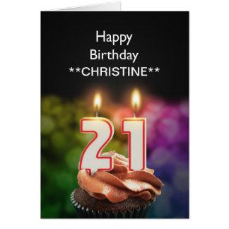 Add a name, 21st birthday card
