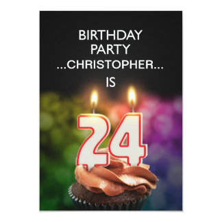 Add a name, 24th Birthday party Invitation