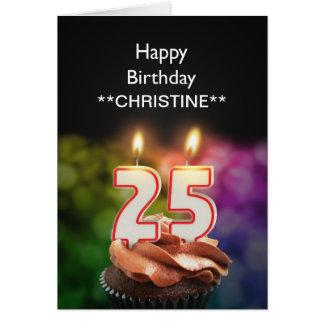 Add a name, 25th birthday card