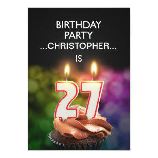 Add a name, 27th Birthday party Invitation
