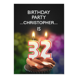 Add a name, 32nd Birthday party Invitation