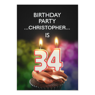 Add a name, 34th Birthday party Invitation