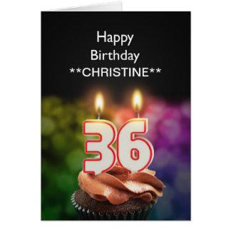 Add a name, 36th birthday card
