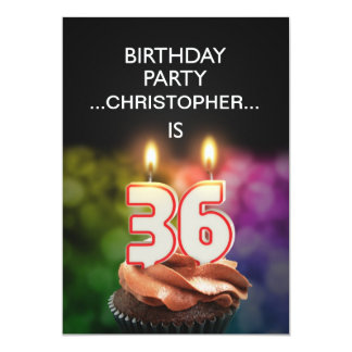 Add a name, 36th Birthday party Invitation