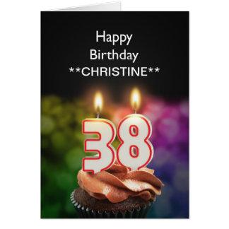 Add a name, 38th birthday card