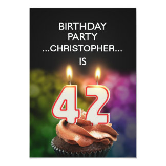 Add a name, 42nd Birthday party Invitation