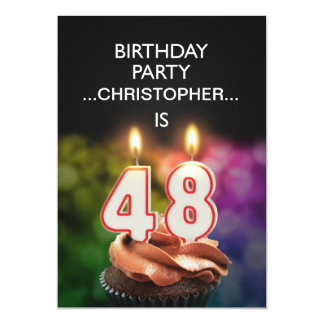Add a name, 48th Birthday party Invitation