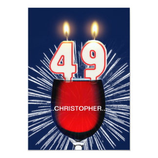 Add a name, 49th Birthday party Invitation, wine Card