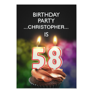 Add a name, 58th Birthday party Invitation