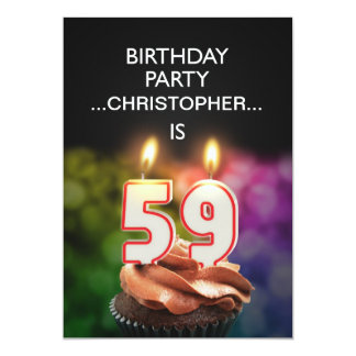 "Add a name, 59th Birthday party Invitation 5"" X 7"" Invitation Card"