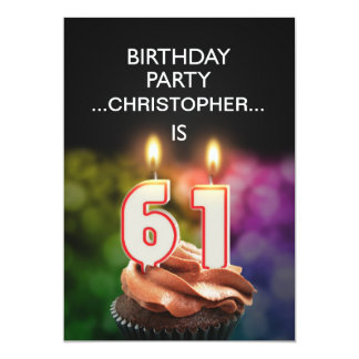 Add a name, 61st Birthday party Invitation