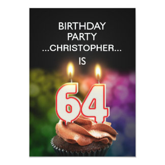 Add a name, 64th Birthday party Invitation